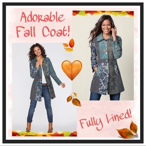 Patchwork Print Light Women's Fall Coat